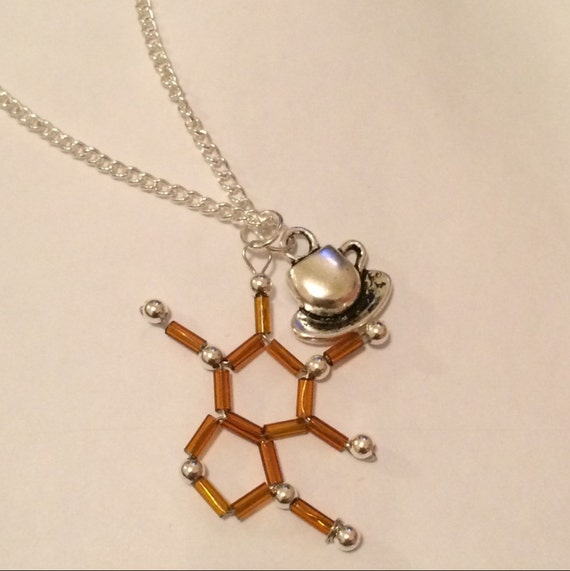 caffeine molecule necklace by marvelousmolecules on etsy