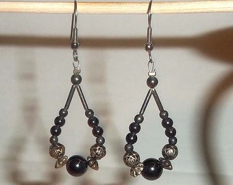 Beaded Dangle Loop Earrings in Iridescent Blue and Bronze - E7
