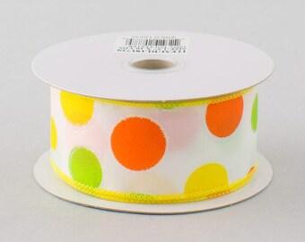 """Satin Polka Dot Ribbon: Yellow, Orange, Lime - 1.5"""" x 10 yards - RL181729"""