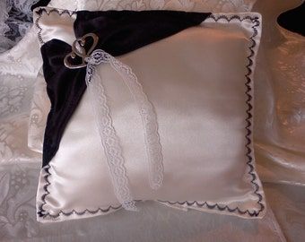 Black white satin Wedding ring pillow hearts in the middle holds rings
