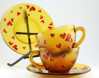 Love Cups, Hand Painted Cups, Cups With Saucer, Coffee Cups, Cups With Hearts, Red Hearts, Girlfriend Gift, Girlfriend Birthday, Love Gifts