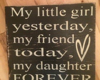 My little girl yesterday....wooden sign