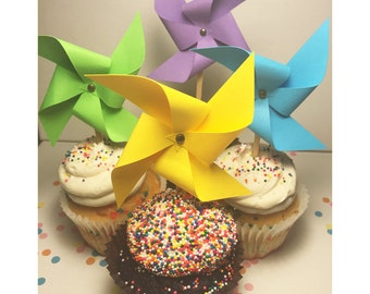 Mini Paper Pinwheels Cupcake Toppers - Party Picks - 4 Inch Wing Span - Birthday Cupcake Toppers