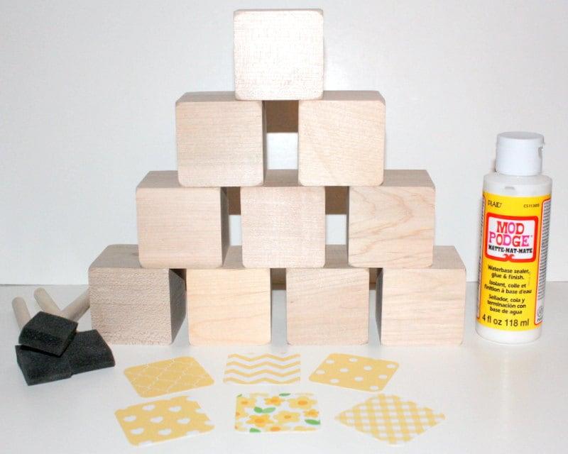 Diy baby shower craft wooden baby blocks yellow nursery for Child craft wooden blocks