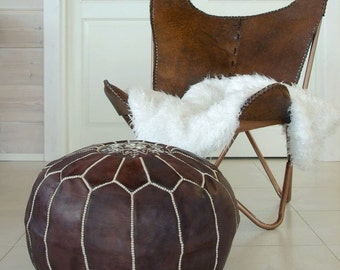 Set of Two Moroccan Pouf Leather Ottoman Poof