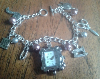 Sewing inspired Charm Bracelet Watch