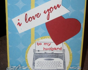 Yellow, Blue and Red Valentine Card to your Hubby