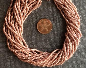 Vintage Metallic Mauve Pink Champagne Czech  Seed Beads 3mm, 1 Bag (app. 2500 beads, equiv 8 Strands)