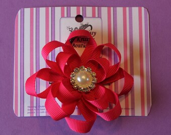 Hair Bow Double Layer Ribbon Hair Bow With Pearl Hair Clip Hot Pink