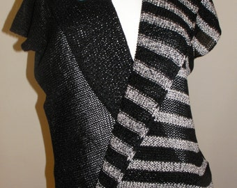 Machine Handknitted Blouse.Black and White Blouse.  Black and White Striped Shrug.  Wooden Button.