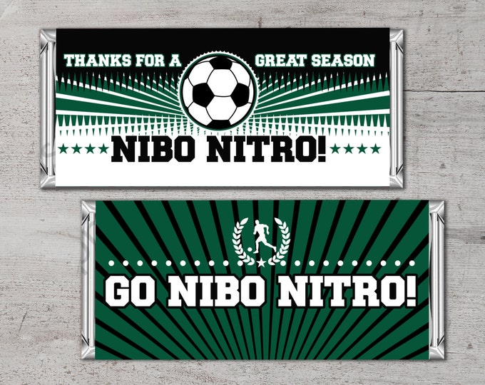 Personalized Soccer Candy Bar Wrapper – Printable Hershey's Bar Wrapper with your team colors & message – Soccer Gifts, Team Gifts
