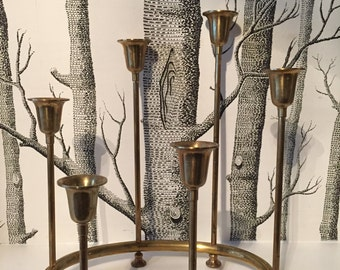 Mid Century Graduated Brass Round Candelabra with Six Candle Holders
