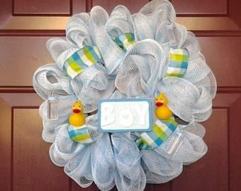 Baby Boy Deco Mesh Wreath (Small~15inches), Hospital Baby Wreath, Baby Shower, Deco Mesh Wreaths, Small Wreath, Mesh Wreath, Wreaths