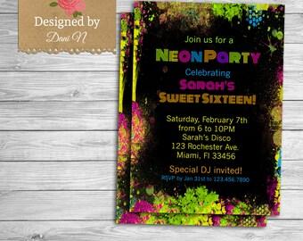 Neon party birthday invitation, sweet sixteen birthday invite, printable party, neon disco, birthday invite, retro party, 80s any age party