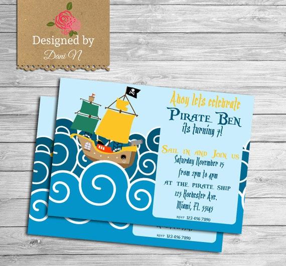 Pirate Birthday Invitation kids invitation under the sea – Kids Pirate Party Invitations