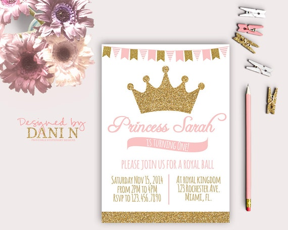 Princess birthday party invitation glitter sparkle printable invite il570xn filmwisefo