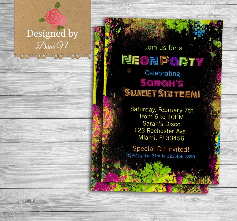 Neon Party Birthday Invitation Sweet Sixteen Birthday Invite