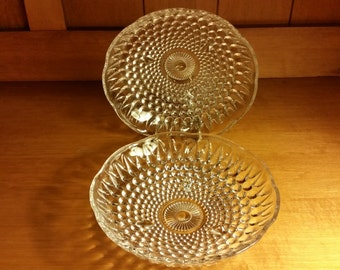 Indiana Glass Clear Hobnail Style 3 Footed Scalloped Edge Bowl, Dish Set of 2