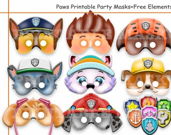 Unique Paw Patrol Printable Masks+Free Elements, birthday, paper mask, party costume, photo props, dog, puppy, kids dress up mask