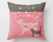 Cat Pillow - Cat Cushion - Pillow Cases - Pet Pillow - Kitten Pillow - Animal Pillow - Personalized Pillow Custom Colour 16x16 18x18 20x20