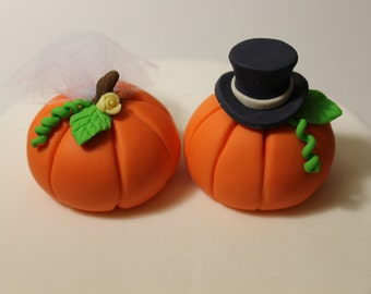 Fondant Pumpkin Wedding Cake Toppers, 2 pack