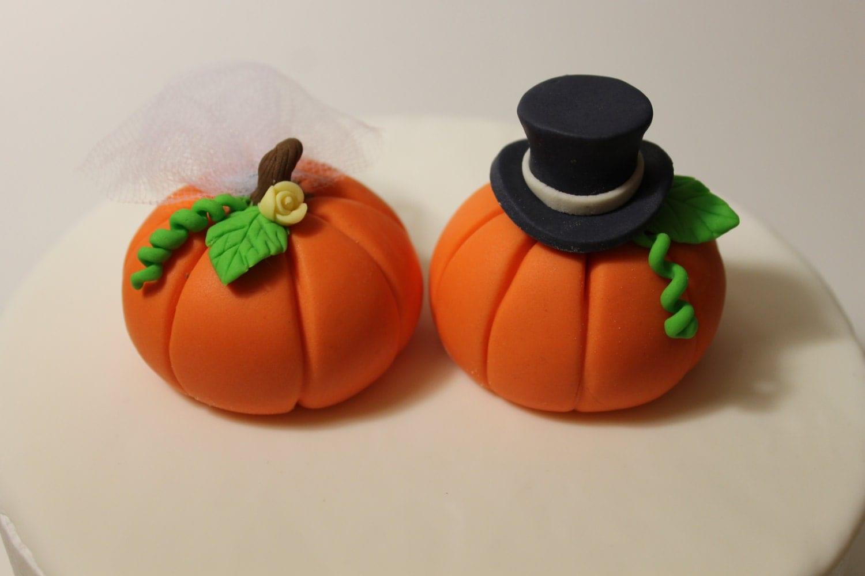 Fondant Pumpkin Wedding Cake Toppers 2 pack
