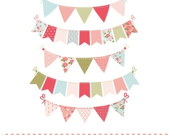 Shabby chic style bunting,, digital clipart