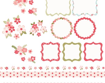 Shabby chic style, frames, borders and flowers, digital clip art set