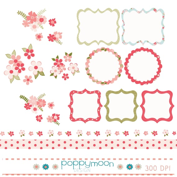Shabby Chic Style Frames Borders And Flowers Digital Clip
