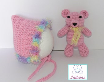 Newborn Baby Crocheted Pink Pixie Bonnet and matching 16cm Teddy.