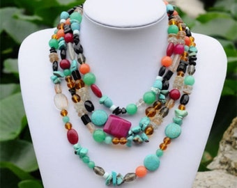Beads Necklace Multiple Colors With Turquoise Stones Crystal Glass Beads  beaded strands necklace