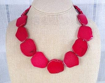 Red turquoise necklace stone slice bib statement necklace