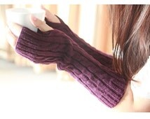 Purple Fingerless Gloves Cable Knit Fall  Mittens Stocking Stuffer Knit Fingerless Gloves Arm Warmers Womens Gloves Wrist Warmers