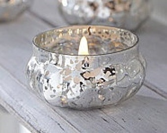 Stylish Small Antique Silver Glass Tea Light Candle Holder