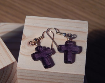Purple Cross - Glass earrings - Handmade