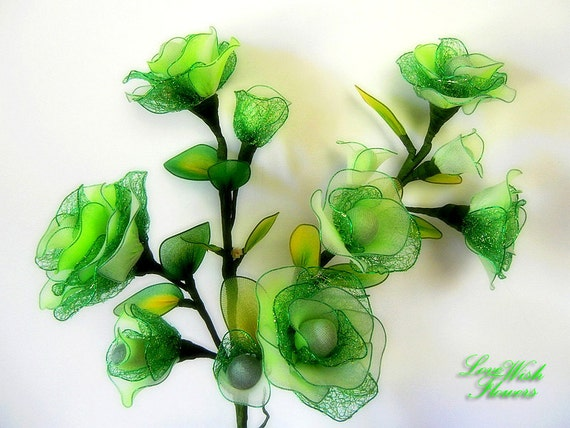 lovely artificial silk rose green with white color handcraft. Black Bedroom Furniture Sets. Home Design Ideas