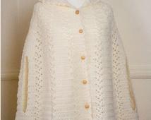 Hooded Cape, Crochet Cape, Cloak, Womens Winter Coat, Long Hooded Cape, Womens Outerwear, Cream Aran Cloak, Cape, UK SELLER