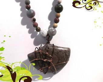 Jasper Fan Pendant wire wrap