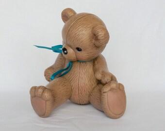 Vintage 1985 hand made pottery Teddy bear figurine statue