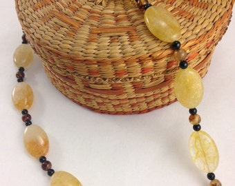 Yellow Avertine, Royal Aagate and Black Onyx Necklace