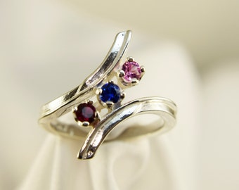 Mothers Ring, Family, or Grandmothers Ring Custom Silver 3 thru 6 Stones(available in gold Request Pricing)FREE Sizing and RHODIUM Plating