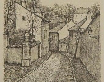 Antique Prague drawing - Czernin street on Prague Castle