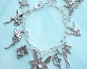 fairies charm bracelet-tibetan silver charm bracelet