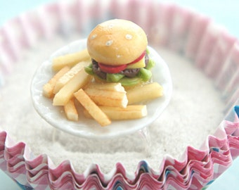 burger and fries plate ring-miniature food jewelry, fast food jewelry
