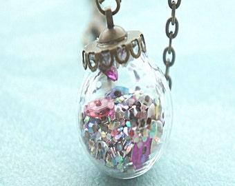 glitter globe necklace-ornament necklace glass globe necklace