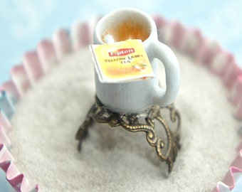 lipton tea ring- food jewelry, miniature food ring
