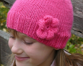 Bright Pink Handknit Hat Made to Order