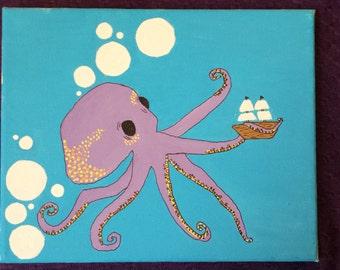"Origional acrylic painting -10""x8""- Bubbles"
