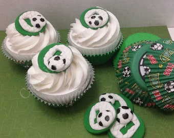 EDIBLE SOCCER TOPPERS - fondant soccer circles. For cupcakes, cakes and cookies. Birthdays, weddings, showers
