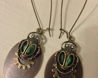 Green Beetles Earrings